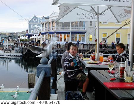 Cape Town, South Africa - 29 Apr 2012: The Bird In The Cafe, The Waterfront In Cape Town, South Afri