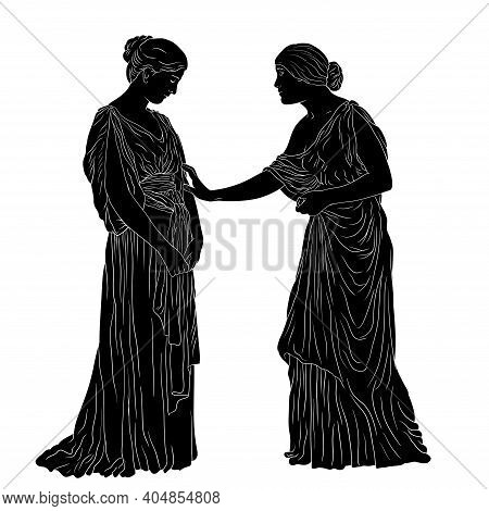 A Young Slender Woman In An Ancient Greek Tunic Stands With Her Head Down. Figure Isolated On A Whit