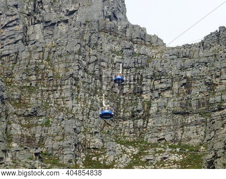Cape Town, South Africa - 29 Apr 2012: The Cable Way To Table Mountain, Cape Town, South Africa