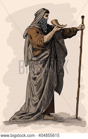 Beggar Old Man With A Staff.