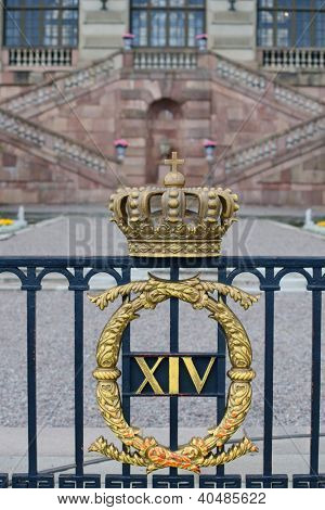 The facade of Stockholm Royal Palace/ Kungliga slottet in Gamla stan/ old town, Stockholm, Sweden