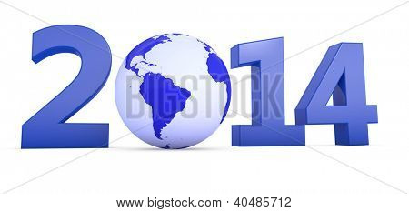 The year 2014 in 3D letters with blue globe as a Zero