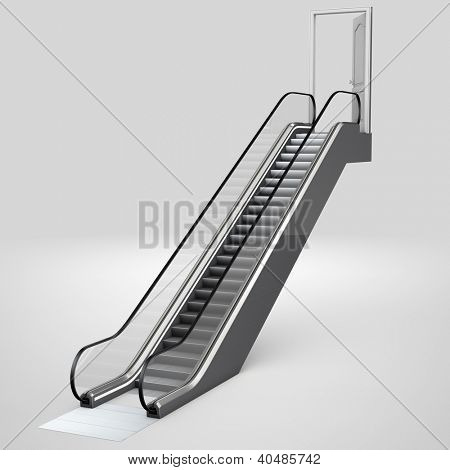 Escalator in 3D leading up to an open door