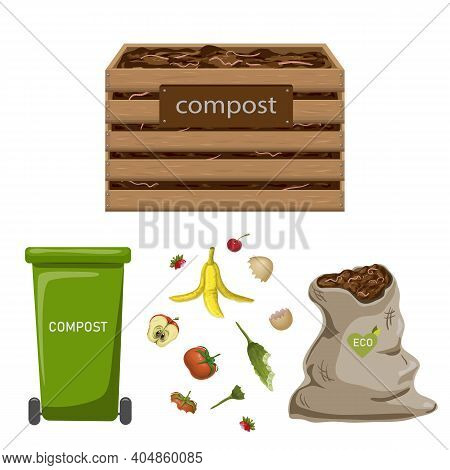 Set Of Garden Composters For Bio Recycling Of Natural Biodegradable Waste, Organic Garbage Like Food