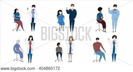 Vaccination Immunity Cartoon Set Of Hand Drawn Isolated Diverse Characters With Patient Kids And Adu