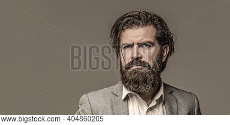 Male Beard And Mustache. Handsome Stylish Bearded Man. Bearded Man In Suit And Bow-tie. Sexy Male, M