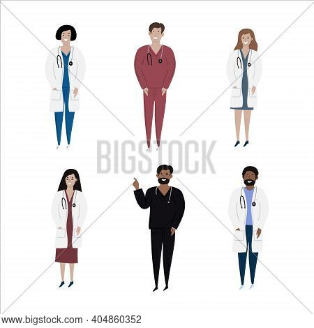 Cartoon Set Of Hand Drawn Isolated Charachters Diverse Multiple Nationalities Adult Doctors. Black,