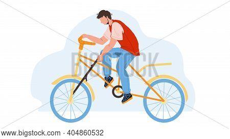 Stupidity Boy Put Spoke In Bicycle Wheel Vector
