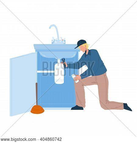 Plumber In Working Overall Fixing Sink Vector