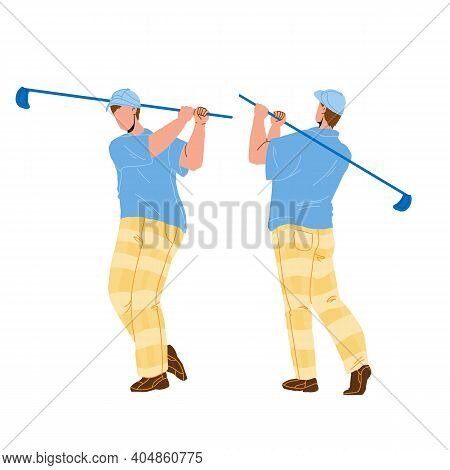 Man Playing Golf And Hitting Ball With Club Vector
