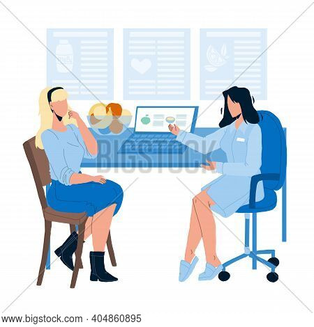 Nutritionist Giving Consultation To Patient Flat Vector