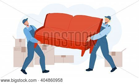 Movers Carry Sofa And Move To New House Vector