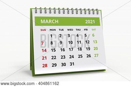 Standing Desk Calendar March 2021. Business Monthly Calendar With Metal Spiral Bound, 3d Render