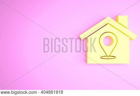 Yellow Map Pointer With House Icon Isolated On Pink Background. Home Location Marker Symbol. Minimal