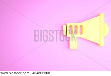 Yellow Megaphone Icon Isolated On Pink Background. Speaker Sign. Minimalism Concept. 3d Illustration