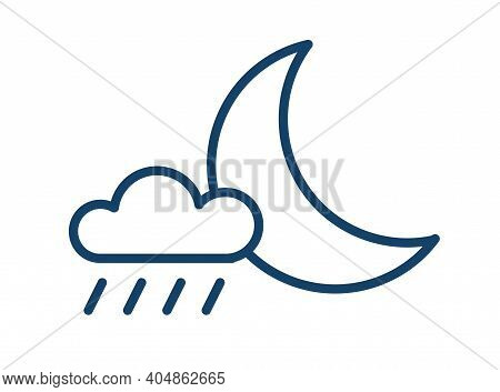 Simple Icon Of Rainy Weather At Night Time. Half Moon And Rain Cloud With Drops. Symbol Of Precipita
