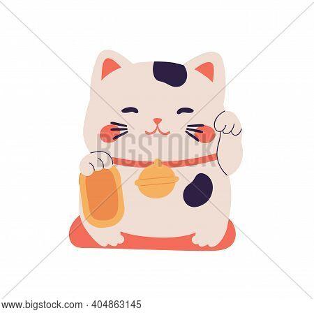 Smiling Maneki Neko Toy Waving With Left Paw. Japanese Beckoning Cat, Symbol Of Luck, Fortune, Wealt