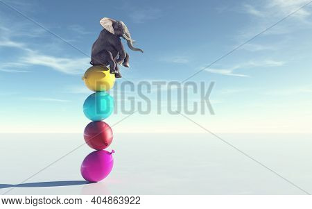 Elephant Sitting On A Balloon Stack .  This Is A 3d Render Illustration .