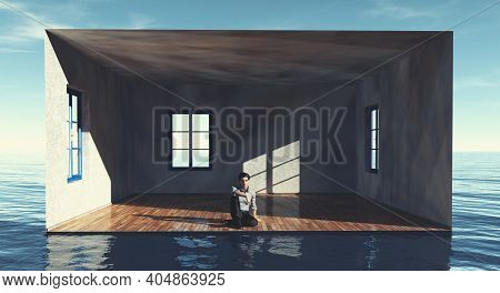 Man Sitting Inside A Room In The Ocean . Dream House Property Concept . This Is A 3d Render Illustra