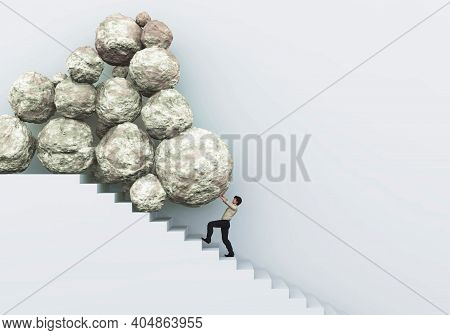 Man Pushing Stones On Stairs . Difficult Multi Tasks . Financial Problems . This Is A 3d Render Illu