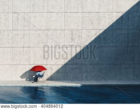 Man Sitting On Chair With An Umbrella On A Modern Minimalist Architecture . This Is A 3d Render Illu