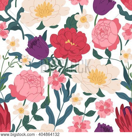 Gorgeous Seamless Floral Pattern With Peony Roses, Tulips And Eucalyptus. Endless Design With Elegan