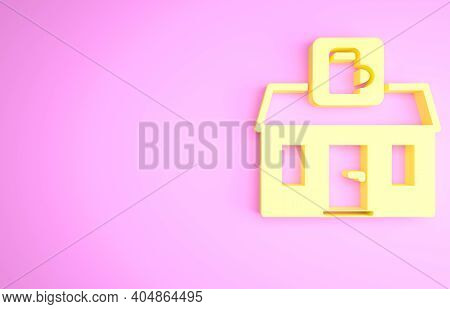 Yellow Store Building Of Beer Shop Icon Isolated On Pink Background. Brewery Sign. Minimalism Concep