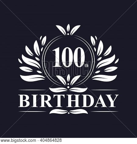 100 Years Birthday Logo, Luxury 100th Birthday Design Celebration.