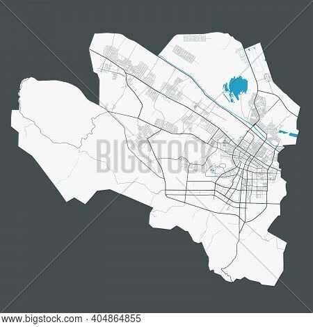 Ashgabat Map. Detailed Map Of Ashgabat City Administrative Area. Cityscape Panorama. Royalty Free Ve
