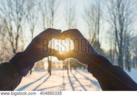 Valentine's Day, Heart From Hands, Woman Making Heart Symbol.valentines Day.sunset Winter Outdoors B