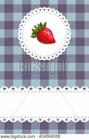 Round Strawberry Label On Blue Chequered Background With Scallop Border And Lacy Doily Frame Vector