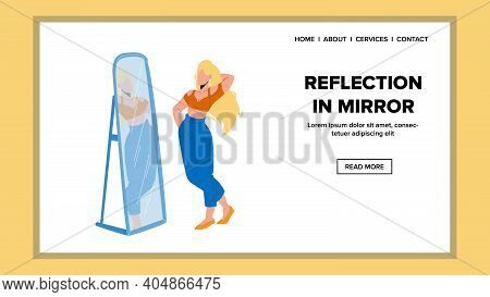 Reflection In Mirror Watching Young Woman Vector