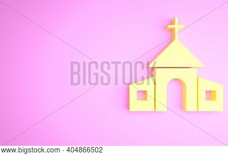 Yellow Church Building Icon Isolated On Pink Background. Christian Church. Religion Of Church. Minim