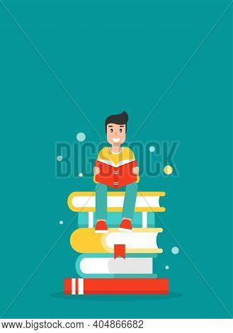 Happy Guy With Stack Of Books. Creative Study, Education, School. Man Giving Advice . Flat Vector Il