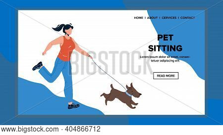 Pet Sitting And Enjoying With Girl Mistress Vector