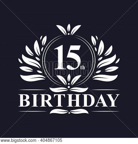 15th Birthday Celebration, Luxury 15 Years Birthday Logo Design.