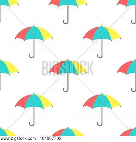 Seamless Background With Open Colorful Funny Umbrellas On White. Overcast Pattern. Vector Illustrati