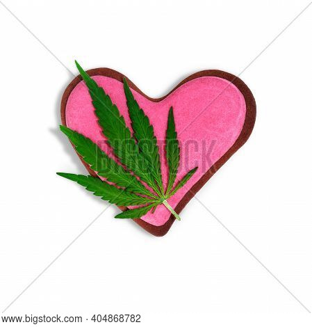 Composition With Cannabis Leaf And Decorated Cookies And Heart-shaped Space For Text, Top View. Vale