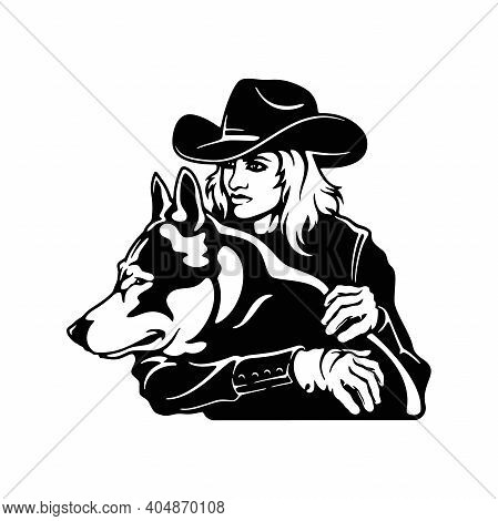 Cowgirl And Dog, Retro Style Poster. Cut Ready Vector Illustration Isolated