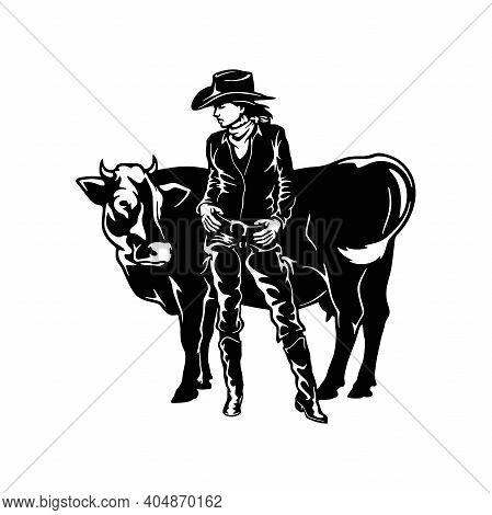 Cowgirl And Cow, Retro Style Poster. Cut Ready Vector Illustration Isolated