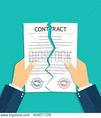 Contract Breach And Break. Terminate Of Contract. Rip Of Paper Document. Cancel And Torn Of Agreemen