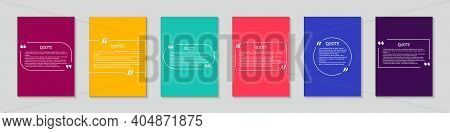 Box With Bubble And Quote. Design Of Square Template For Citation, Talk, Speech. Frames With Text On