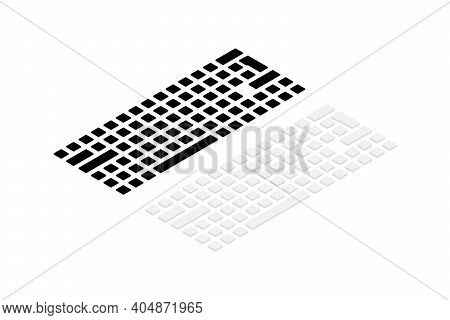 Isometric Keyboard. 3d Computer Keyboard. Icons Of Buttons For Pc. Buttons Of Qwerty, Support, Shift