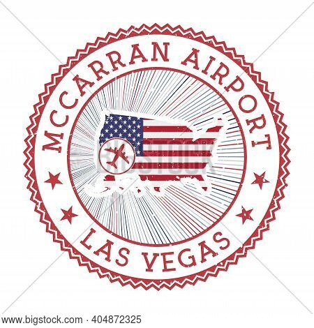 Mccarran Airport Las Vegas Stamp. Airport Logo Vector Illustration. Las Vegas Aeroport With Country