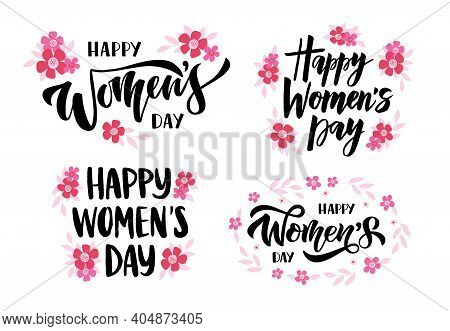 International Womans Day Greeting Card. Happy Womans Day Hand Drawn Vector Brush Lettering Set. Cele
