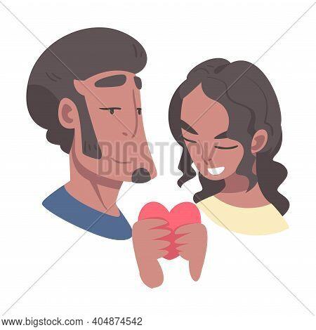 Enamored Couple In Love Holding Heart Feeling Devotion Vector Illustration