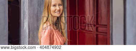 Banner, Long Format Woman Tourist On Background Of Temple Ngoc Son In Hanoi, Vietnam.temple Of Liter