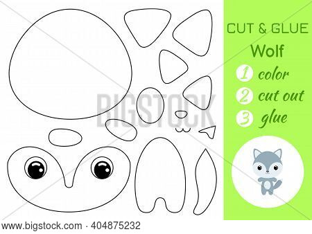 Coloring Book Cut And Glue Baby Wolf. Educational Paper Game For Preschool Children. Cut And Paste W