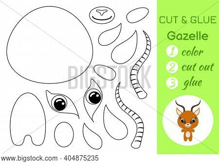 Coloring Book Cut And Glue Baby Gazelle. Educational Paper Game For Preschool Children. Cut And Past