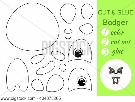 Coloring Book Cut And Glue Baby Badger. Educational Paper Game For Preschool Children. Cut And Paste
